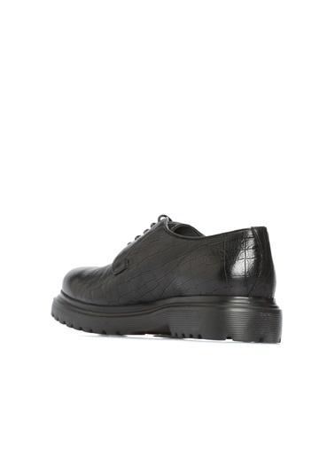 Divarese Divarese 5023702 Kroko Desenli Erkek Deri Ayakkabı Siyah